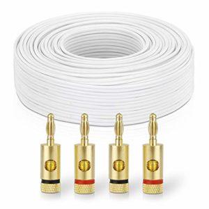 sonero® 50 mètres 2×2.50mm² CCA câble de Haut-Parleur/câble d'enceinte, Couleur: Blanc, Set Comprenant 4 fiches Bananes
