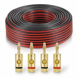 sonero® 50 mètres 2×2.50mm² CCA câble de Haut-Parleur/câble d'enceinte, Couleur: Rouge/Noir, Set Comprenant 4 fiches Bananes
