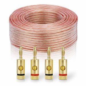 sonero® 50 mètres 2×4.00mm² CCA câble de Haut-Parleur/câble d'enceinte, Couleur: Transparent, Set Comprenant 4 fiches Bananes