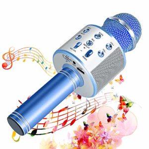 SunTop Karaoké Microphone de Microphone Musique à Main Bluetooth Compatible avec Smartphone/Android/IOS/PC, pour Adultes et Enfants Chanter Jouer Faire la Fête