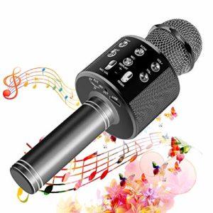 SunTop Micro Karaoké Bluetooth, Microphone Bluetooth Sans Fil, Karaoke Sans Fil, Karaoké Micro Sans, Bluetooth haut-parleur, des Chansons Haut-parleur AUX pour iPhone, iPad, Android Smartphone