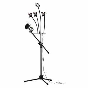 Support micro avec trépied pour micro avec lumière LED et filtre Pop 3 pinces pour téléphone et carte son pour la diffusion vidéo en direct, adapté pour studio de scène.