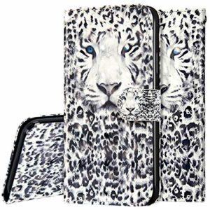 Surakey Coque pour Samsung Galaxy A21S Housse en Cuir PU Pochette Flip Case Portefeuille Etui Rabat,3D Effet Glitter Paillette Wallet Case Magnétique [Stand Fonction],léopard