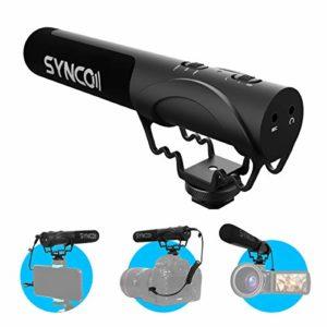 SYNCO Micro Caméra, Mic-M2 Microphone Video Shotgun Super-Cardioïde Condenseur Directionnel pour DSLR Reflex Caméscope Panasonic Canon Sony Nikon Appareils Photo Smartphone iPhone Samsung