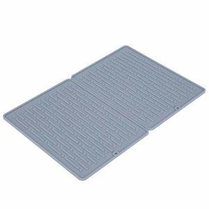 Tampon à vaisselle, tampon de drainage réutilisable en silicone, tampon à séchage rapide en(gray, Double hole drain rack mat)