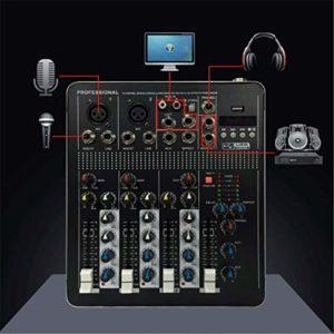 Tbaobei-Baby Contrôleur DJ Intelligent Quatre-canaux avec Bluetooth avec Interface réseau USB Effet Karaoke Anchor Dédié Petite MixerSupport Carte USB/SD (Color : Black, Size : 240x200x37mm)