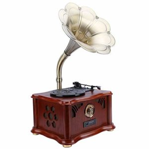 Turntable Tourne-Disque Phonograph Record Multifonctionnel Retro Solid Wood phonographes Bluetooth USB Subwoofer pour Divertissement et Décoration de la Maison (Color : C1, Size : Big Movement)