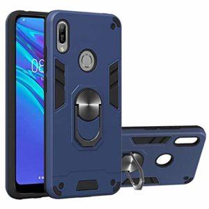 WJMWF Compatible avec Coque Huawei Honor 8A/Y6 2019 [Protecteur D'écran] 360° Support de Bague Rotative 2 en 1 Armure de Combat Case Support de Voiture Magnétique Housse-Bleu Royal