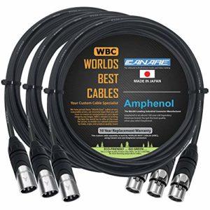 Worlds Best Cables Lot de 3 câbles de microphone Canare L-4E6S, mâle-femelle équilibrés avec connecteurs XLR Amphenol AX3M et AX3F argentés 4 m