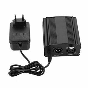 Ymiko Bloc d'alimentation Mini Bloc d'alimentation fantôme 48 V à 1 Canal avec Adaptateur Secteur pour Microphone à condensateur(ER)