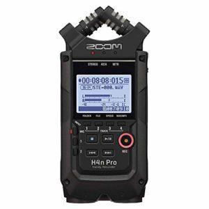 Zoom H4n Pro Enregistreur portable 4 pistes Noir, micro stéréo, 2 entrées XLR/ 1½4″ Combo Alimenté par batterie, pour enregistrement stéréo/multipiste de musique, audio pour vidéo et podcasting