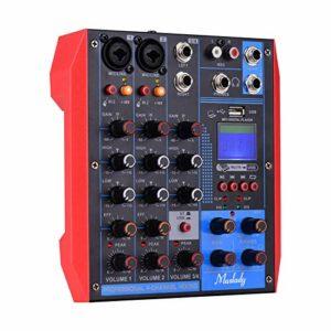 AG-4 Console de mixage portable 4 canaux Table de mixage audio numérique + alimentation fantôme 48 V prend en charge la connexion BT/USB / MP3 pour l'enregistrement de musique DJ Network