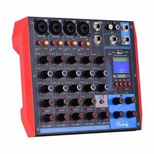 AG-6 Console de mixage portable 6 canaux Table de mixage audio numérique + alimentation fantôme 48 V prend en charge la connexion BT/USB / MP3 pour l'enregistrement de musique DJ Network