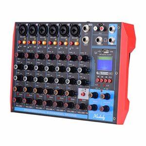 AG-8 Console de mixage portable 8 canaux Table de mixage audio numérique + alimentation fantôme 48 V prend en charge la connexion BT/USB / MP3 pour l'enregistrement de musique DJ Network
