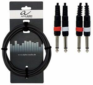 Alpha Audio 190180 Basic Line Double câble 6 m 2 x 6,3 mm Jack Mono Noir