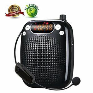 Amplificateur de voix, SHIDU Wireless Voice Amplifier 10W Rechargeable Portable PA Système Haut-parleur avec UHF Sans Fil Microphone Casque Soutien MP3 Play pour les Enseignants, Yoga,Teaching
