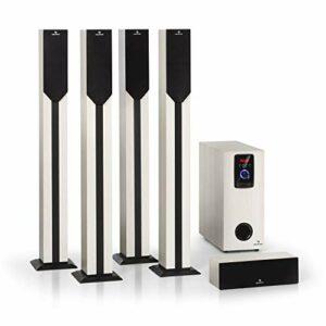 AUNA Areal Elegance – Système Surround 5.1 canaux, Home cinéma, Sortie: 190 W RMS, subwoofer 5″, 5 x eneintes Satellites (3″ +5″), Bluetooth, Port USB/SD, Aspect Bois Clair