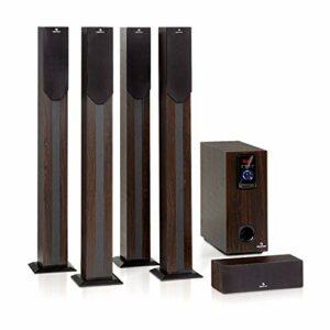 AUNA Areal Elegance – Système Surround 5.1 canaux, Home cinéma, Sortie: 190 W RMS, subwoofer 5″, 5 x eneintes Satellites (3″ +5″), Bluetooth, Port USB/SD, Aspect Bois foncé