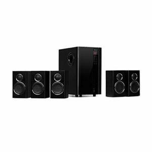 AUNA Areal Touch 5.1 – Système d'enceintes 5.1, Surround, 200W, Subwoofer, Bluetooth, USB, SD, Entrées stéréo RCA, Télécommande Pratique, 95 Watts RMS, Ecran Tactile – Noir