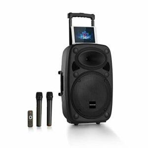 AUNA Pro Streetstar – Enceinte Bluetooth Mobile, Karaoké, Subwoofer, Micro UHF sans Fil, Solide boîtier en ABS, Poignées de Transport, Conception Bassreflex, Line-Out, 1000w – Noir