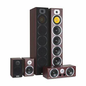 auna V9B Surround – Set 5 Enceintes, Système de Son Surround, Système Home Cinéma, Châssis Bass Reflex texturé, 400 Watt RMS, Réponse en fréquence: 20 Hz à 20 kHz, Montage Mural, Acajou