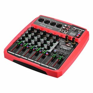 B6-MX Console de mixage de carte son portable à 6 canaux Mélangeur audio 16 DSP 48 V intégré Alimentation fantôme Prise en charge de la connexion BT Fonction d'enregistrement du lecteur MP3