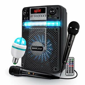 Bafle Karaoké Enfant LED ADO PARTY 400W Batterie Koolstar – 2 MICROS + APPLICATION SMARTPHONE USB/Bluetooth/RADIO FM