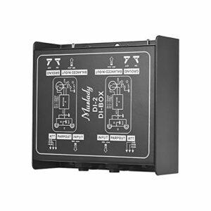 Bedler DI-2 Convertisseur de signal audio balancé et déséquilibré à boîtier direct DI-Box passif bi-canal professionnel avec interfaces XLR TRS pour guitare live