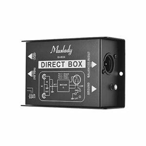 Bedler Professional Single Channel Passive DI-Box Audio Injection directe Convertisseur de signal équilibré et déséquilibré avec interfaces XLR TRS pour guitare électrique