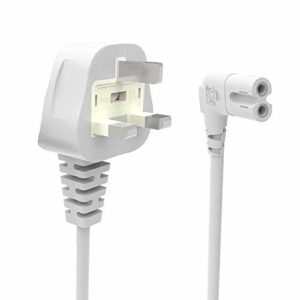 Câble d'alimentation UK 1M Blanc, Angle Droit 90 Degrés IEC C7 vers Prise d'alimentation en 8″ Cordon pour Samsung Philips Toshiba LG Sony Sharp Panasonic LED Flat TV Sky Box, Sky Plus+ HD Box