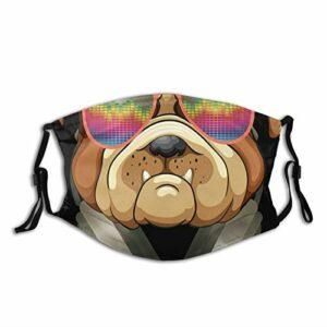 Casque de protection de la bouche pour adulte avec filtre Dj Bulldog pour écouter de la musique anti-poussière réglable et confortable