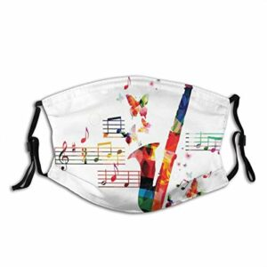 CDMT-XU1 Les décorations de visage imprimées pour adultes de saxophone avec des papillons et des partitions Illustration créative Balaclava Bandanas réutilisables en cours d'exécution