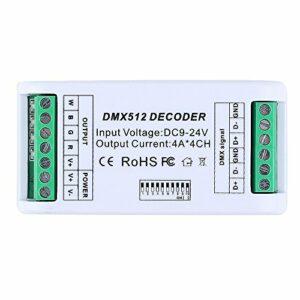 CHINLY 4 canaux DMX décodeur RGB RGBW 12A LED bande contrôleur DMX 512 Dimmer Driver DC9V-24V pour RGB RGBW LED bande Module