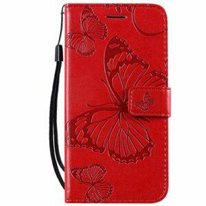 Coque pour Galaxy A2 Core Coque,Housse en Cuir Flip Case Portefeuille Etui avec Stand Support et Carte Slot pour Samsung Galaxy A2 Core/A260F – EYKT040115 Rouge