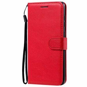 Coque pour Galaxy A31 Prime PU Cuir Flip Folio Housse Étui Cover Case Wallet Portefeuille Support Dragonne Fermeture Magnétique pour Samsung Galaxy A31 – JEKT052028 Rouge