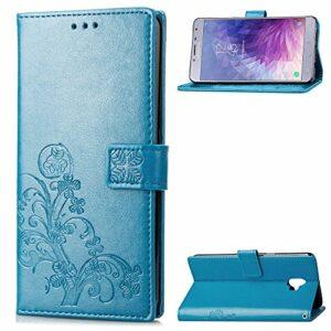 Coque pour Galaxy J4 2018 Prime PU Cuir Flip Folio Housse Étui Cover Case Wallet Portefeuille Support Dragonne Fermeture Magnétique pour Samsung Galaxy J4 – JESD050373 Bleu