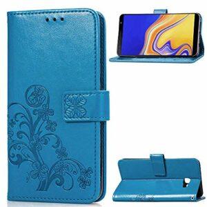 Coque pour [Galaxy J4 Core] Prime PU Cuir Flip Folio Housse Étui Cover Case Wallet Portefeuille Support Dragonne Fermeture Magnétique pour Samsung Galaxy J4 Core – JESD050380 Bleu