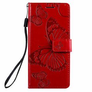 Coque pour Galaxy M01/A01 Core Prime PU Cuir Flip Folio Housse Étui Cover Case Wallet Portefeuille Support Dragonne Fermeture Magnétique pour Galaxy M01/A01 Core – JEKT042707 Rouge