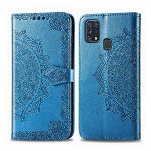 Coque pour Galaxy M31 / M21 Prime PU Cuir Flip Folio Housse Étui Cover Case Wallet Portefeuille Support Dragonne Fermeture Magnétique pour Samsung Galaxy M31 / M21 – JESD011818 Bleu