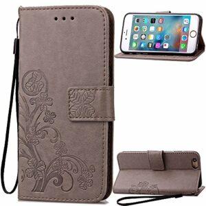 Coque pour iPhone 6S / iPhone 6 Prime PU Cuir Flip Folio Housse Étui Cover Case Wallet Portefeuille Support Dragonne Fermeture Magnétique pour Apple iPhone 6S / 6 – JESD050011 Gris