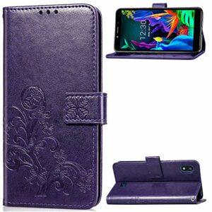 Coque pour LG K20 2019 Prime PU Cuir Flip Folio Housse Étui Cover Case Wallet Portefeuille Support Dragonne Fermeture Magnétique pour LG K20 – JESD051216 Violet