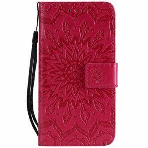 Coque pour LG K9 Antichoc étui Rabat Cuir Case Portefeuille FineTPU Gel Bumper Slim Silicone Wallet Cover Aimant Housse pour LG K9 2018 – ZIKT031643 Rouge