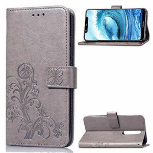 Coque pour [Nokia 5.1 Plus] Prime PU Cuir Flip Folio Housse Étui Cover Case Wallet Portefeuille Support Dragonne Fermeture Magnétique pour Nokia 5.1 Plus – JESD051579 Gris