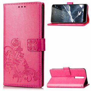 Coque pour Nokia 5.1 Prime PU Cuir Flip Folio Housse Étui Cover Case Wallet Portefeuille Support Dragonne Fermeture Magnétique pour Nokia5.1 – JESD051575 Rose Rouge