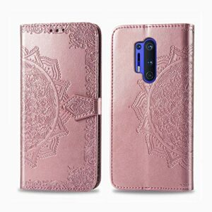 Coque pour OnePlus 8Pro Prime PU Cuir Flip Folio Housse Étui Cover Case Wallet Portefeuille Support Dragonne Fermeture Magnétique pour OnePlus 8 Pro – JESD012155 Or Rose