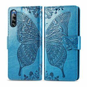 Coque pour Sony Xperia L4 Flip Folio Housse PU Cuir Étui Cover Case Wallet Portefeuille Support Dragonne Fermeture Magnétique pour Sony Xperia L4 – JESD022131 Bleu
