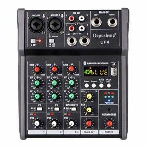 Depusheng UF4 Console de mixage Audio 4 canaux avec mini mixeur DJ USB Bluetooth pour enregistrement sur ordinateur, bandes