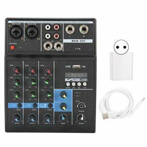 Dilwe Table de mixage Audio 4 canaux, Console de mixage USB Interface Audio Console de mixage Alimentation 48 V intégrée pour la Production Musicale à Domicile, la Diffusion Web(Je)