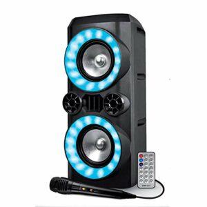 Enceinte Autonome sur Batterie – Koolstar CREED266-300W – USB SD Bluetooth – Micro filaire – 2x Boomer 16cm à LED RVB