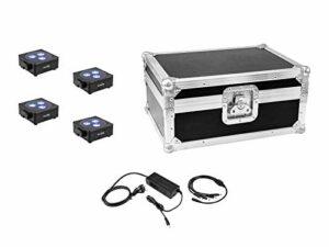 Eurolite Set 4X AKKU Luce Piatta 3 BK Caricabatterie Custodia